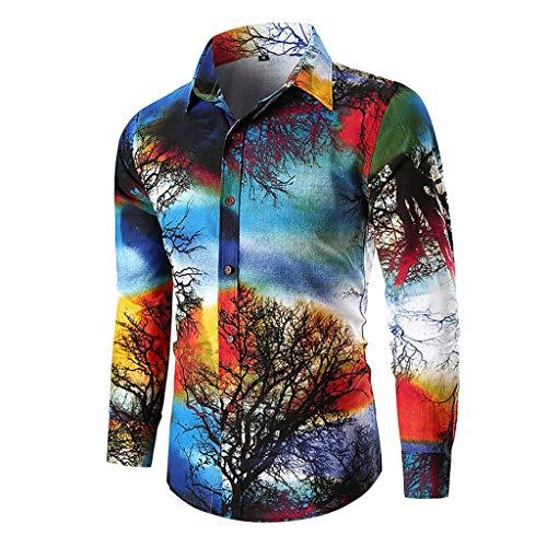 POQOQ Button T-Shirt Men's Casual 3D Printing Slim Long Sleeve Blouse Tops(Blue,3XL)]()