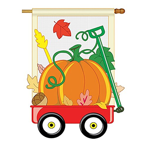 Two Group - Fall Pumpkins Hand Wagon Fall - Seasonal Harvest & Autumn Applique Decorative Vertical House Flag 28