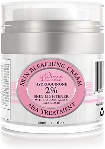 Divine Derriere Skin Lightening 2% Hydroquinone Bleaching Cream with 6% AHA Glycolic Acid and Lactic Acid - Fade Dark Spots, Freckles, Hyperpigmentation, Melasma and Discolorations. 1.7 Ounce