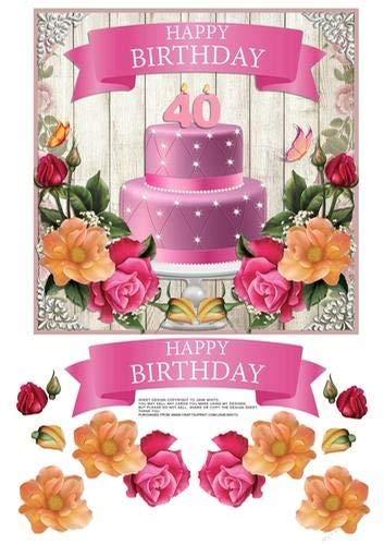 Jane Minto - Tarta de cumpleaños con flores para 40 ...