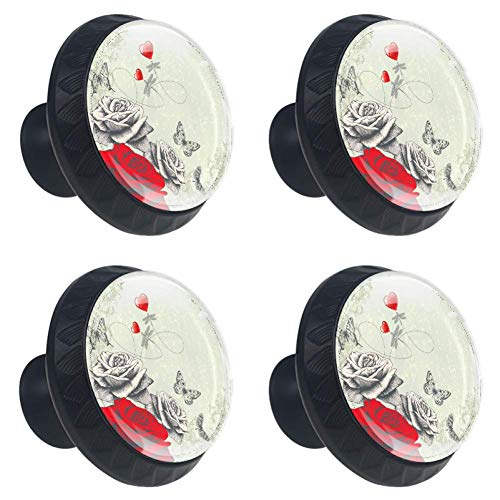 LORVIES Roses Butterflies Dragonflies and Red Hearts Drawer Knob Pull Handle Crystal Glass Circle Shape Cabinet Drawer Pulls Cupboard Knobs with Screws for Home Office Cabinet Cupboard (4 Pieces)
