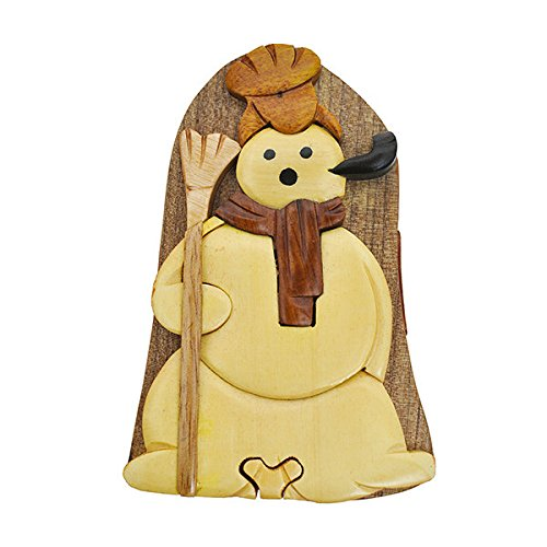 Handmade Wooden Art Intarsia TRICK SECRET Snowman with broom Christmas Décor Puzzle Trinket Box (3502) (g2)