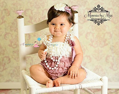 8abb5fb51e66 Amazon.com  Baby Girl Dusty Ivory Satin Rose Petti Lace Romper Set ...
