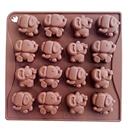 Yunko 16 Cavity Elephant Silicone Chocolate Mold Ice Cube Jelly Fudge Mold Candy Gum Mould