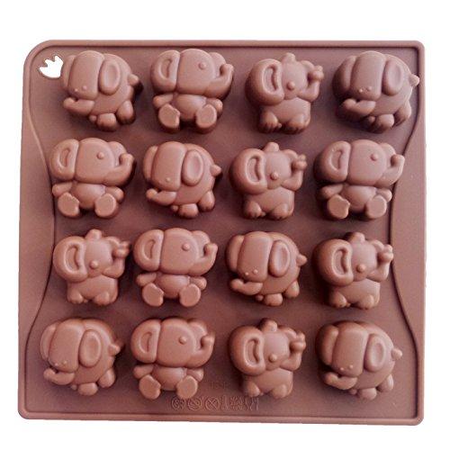 Yunko 16 Cavity Elephant Silicone Chocolate Mold Ice Cube Tray Jello Fudge Mold Candy Gum (Candy Elephant)