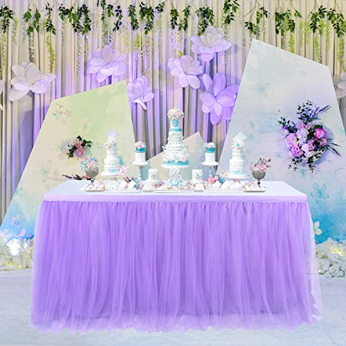 Suppromo Purple Tulle Table Skirt Tableware Table Cloth for Rectangle Tables or Round Tables Tutu Table Skirting for Mermaid Party,Wedding,Birthday Party&Home Decoration(L9(ft) H 30in, Purple)]()