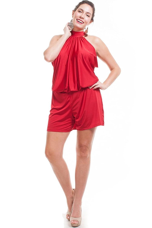 Nyteez Women's Plus Size Short High Neck Romper Jumpsuit