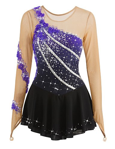 Make Figure Skating Dress (Skating Queen Figure Skating Dress for Girls Women Ice Skating Performance Costume Competition Rhinestone Sequin Applique Handmade Professional Skating Wear Long Sleeves Purple Black, child 8)