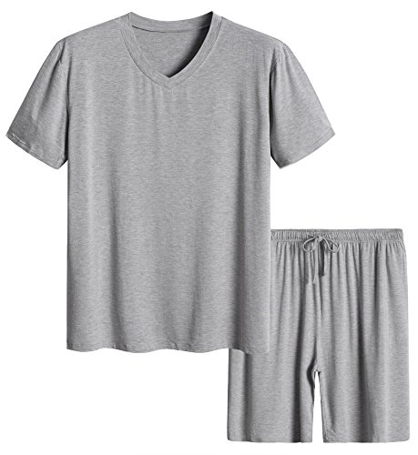 Latuza Men's Short Sleeves and Shorts Pajama Set M Light Gray