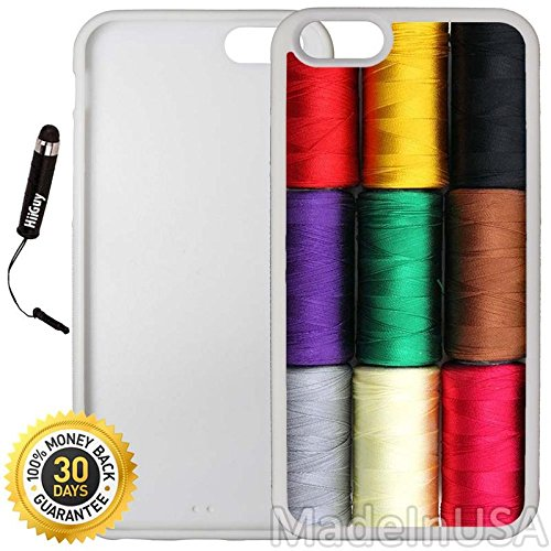 (Custom iPhone 6 Plus/6S Plus Case (Sewing Thread Pattern) Edge-to-Edge Rubber White Cover with Shock and Scratch Protection | Lightweight, Ultra-Slim | Includes Stylus Pen by INNOSUB)