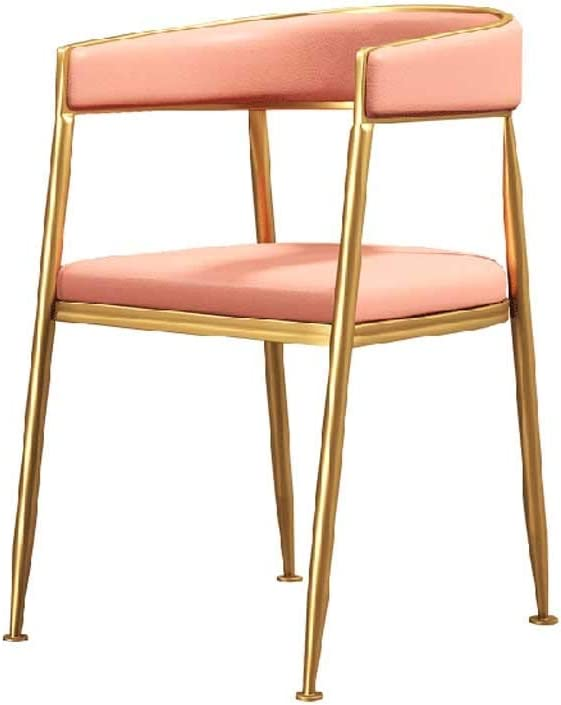 Faux Leather Chairs, Luxurious Reception Furniture, Padded Seat Dining Chairs, Office Chair Tub Chairs Restaurant Hotel Sun Lounger (Color : Pink)