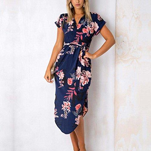 Robe Courtes Soire Pencil Bodycon Sexy Femme Fourreau Manches Midi Chemise Bleu Floral Kimono OverDose Dress t Imprim r7vPrxBFwq
