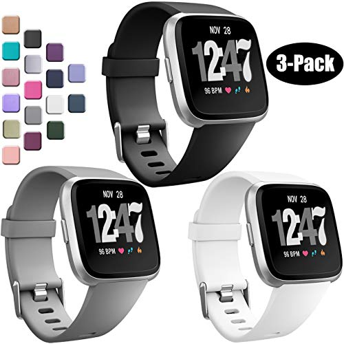Wepro Bands Compatible with Fitbit Versa SmartWatch, Watch Replacement Band for Women Men Kids, Small, 3 Pack, Black, Gray, White
