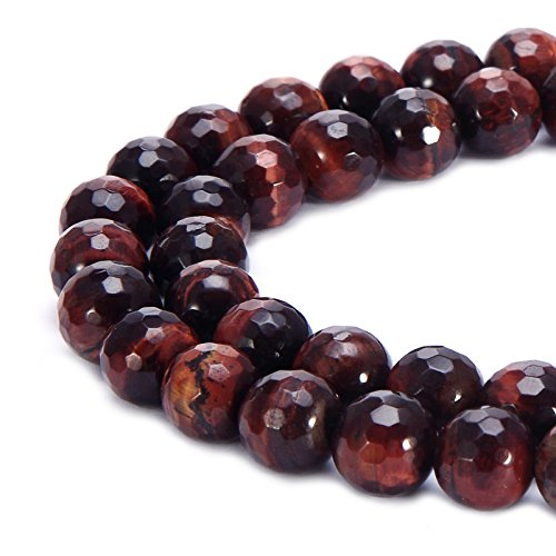 (BRCbeads Natural Red Tiger Eye Gemstone Loose Beads Faceted Round 8mm Crystal Energy Stone Healing Power for Jewelry Making)