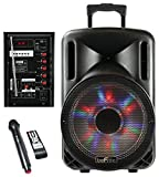 beFree Sound Bluetooth Powered PA Subwoofer with Illuminatiing Lights