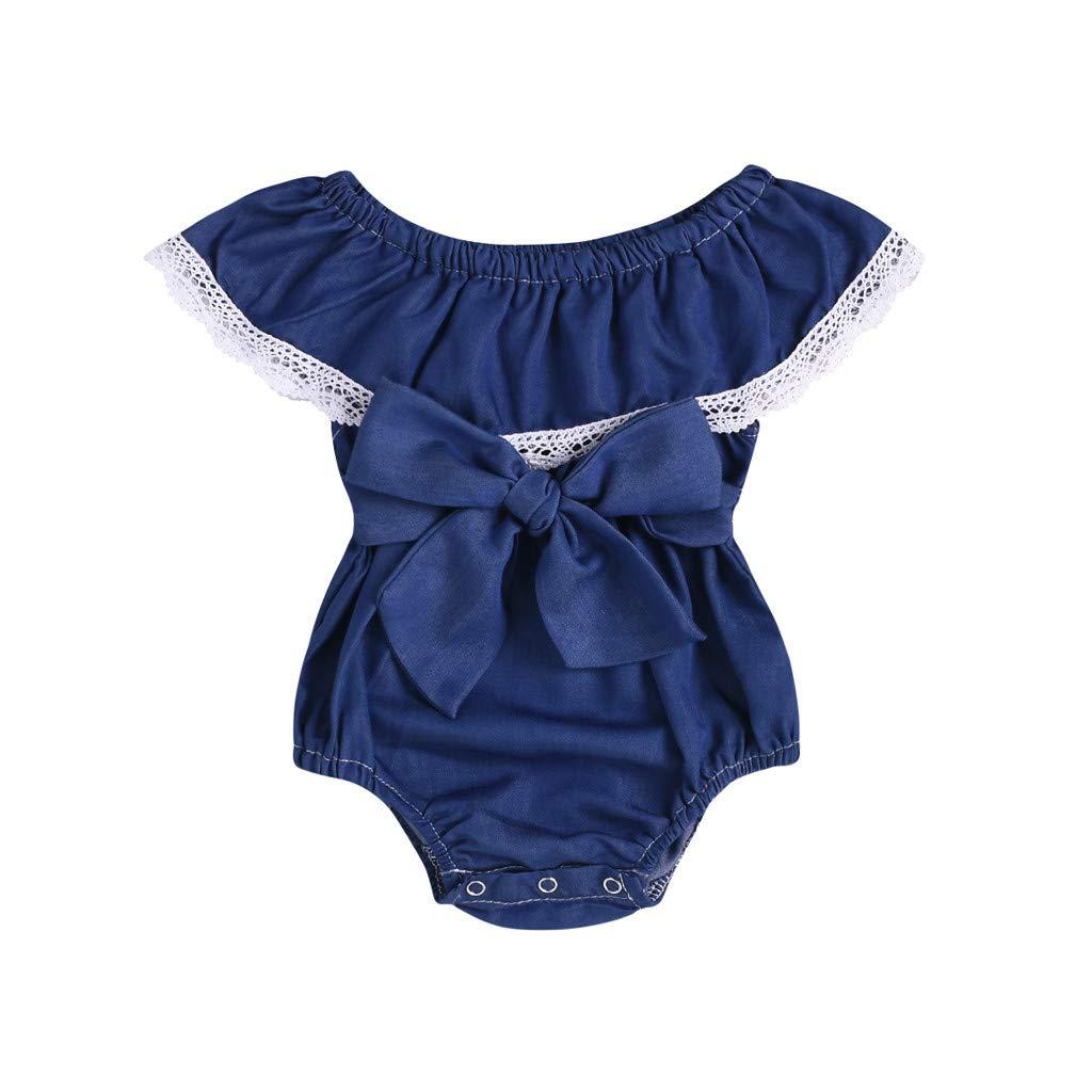 NUWFOR Toddler Infant Baby Girl Sleeveless Ruffles Lace Denim Romper Bodysuit Clothes (Blue,3-6 Months)