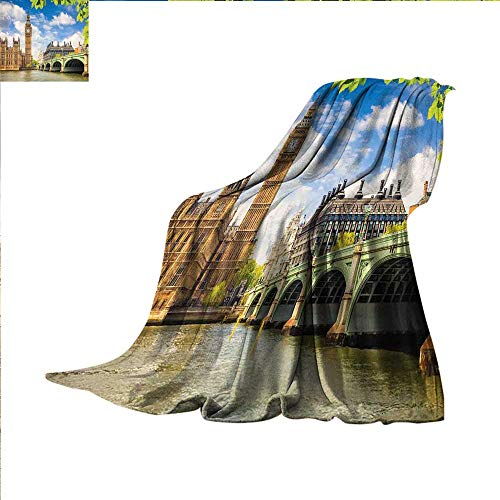 smallbeefly London Digital Printing Blanket Historical Big Ben and Westminster Bridge Fresh Spring Season Leaves Picture Summer Quilt Comforter 50