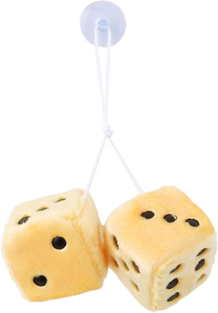 Red black dots VWH 1Pair Furry Dice Car Hanging Decorations