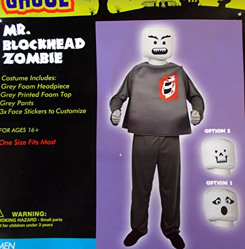 Blockhead Costumes (Mr. Blockhead Zombie Adult Costume OSFM NIP)