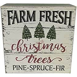 Nikki's Knick Knacks Farm Fresh Christmas Tree Wood Holiday Block Sign