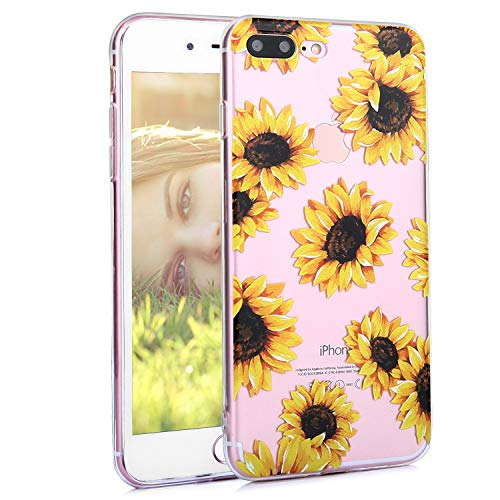 Phone Case for iPhone 7 Plus, iPhone 8 Plus Case, Feelingjoy iPhone 7 Plus Case for Women, Floral Flower Sunflower Pattern Clear Design Case with TPU Bumper Cover for iPhone 7 Plus/iPhone 8 Plus
