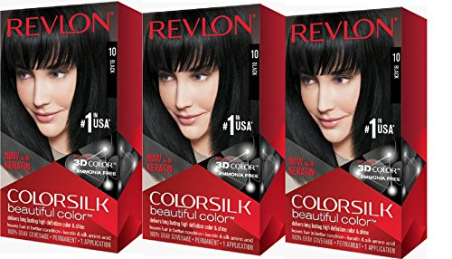 (Revlon Colorsilk Beautiful Color, Black, 3 Count)