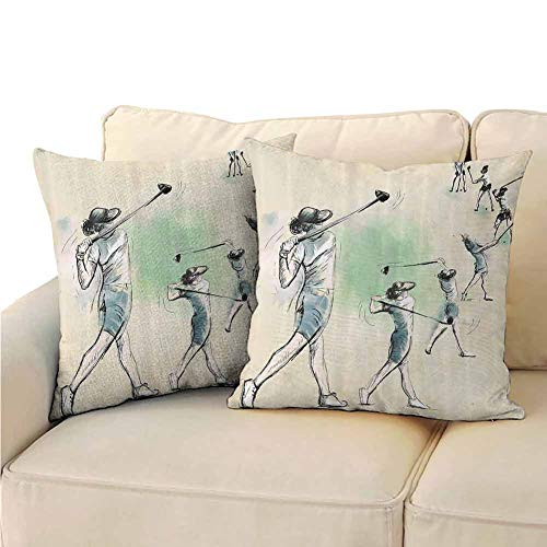 QIAOQIAOLO Pack of 2 Sofa Hug Pillowcase Sports Double-Sided Printing 20x20 inch Artistic Golf Player in Motion Club Game Sketch Style Illustration Cream Fern Green Petrol Blue (The Simpsons Golf Club Covers)