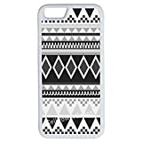 iPhone 7 Case, CellPowerCasesTM Monochrome Aztec [Flex Series] - iPhone 7 (4.7) White Case [iPhone 7 (4.7) V1 White]