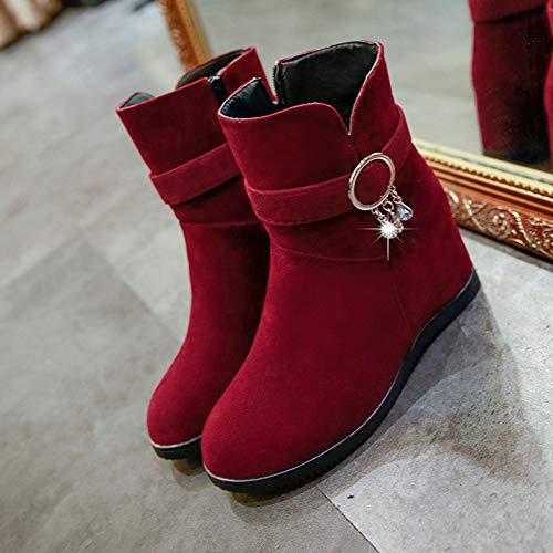 Shoes boots Rosso Casual Cunei Alti invernali Martin ragazza Scarpe Da Tubo  Con Tacchi Medi Basso Singole Stivali Stivale Donna Stivaletti ... 94a2226cc9d