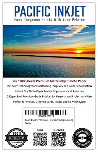 Pacific Inkjet - Premium Matte Inkjet Photo Paper - 100 Sheets 230sm 8.5mil (5-x-7-inch)