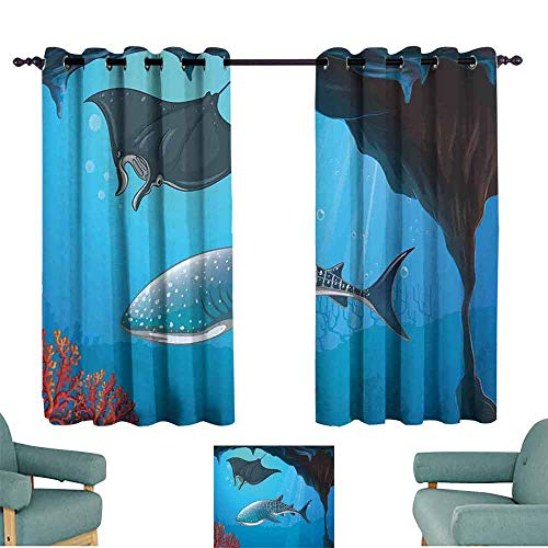 (HCCJLCKS Printed Curtain Shark Shark Deep Water Stingray with Coral Reefs Algae Rocky Cave Exotic Cartoon Style Art Darkening and Thermal Insulating W63 xL63 Blue Grey)