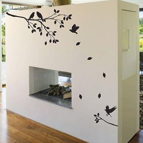 Piccolo albero fiori e uccelli adesivi da parete/finestra decalcomanie Arancione amazing sticker