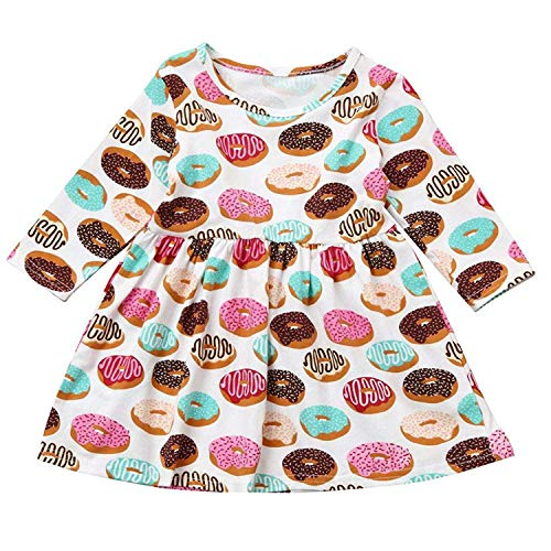 Toddler Kids Baby Girls Fall Dress Donut Print Skirt Long Sleeve Outfits Party Clothes Set (Donut, -