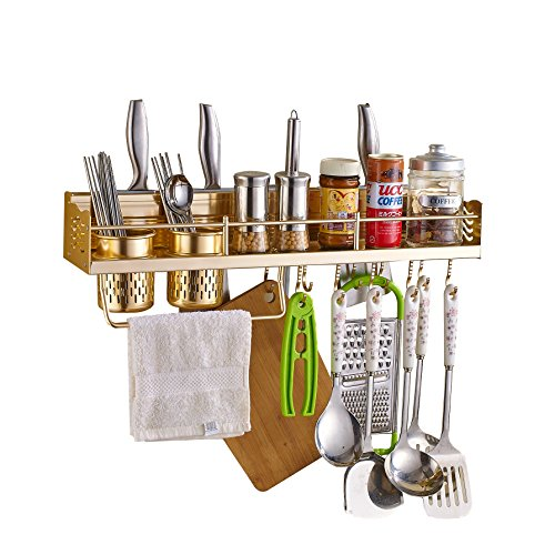 QinSheng Multifunctional Aluminum Wall Hanging Kitchen Rack with Shelves,Bottle Racks,Toolholder,Various Hanger Hooks & Pot Organizers for Kitchen Organization&Golden