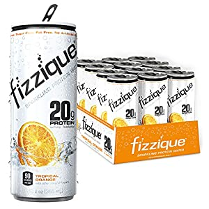 fizzique® Sparkling Protein Water – Tropical Orange, 20g Protein, 2 Net Carbs, 90 Cals, Protein Energy Drinks, Low Carb Drinks, Gluten Free, Lactose Free, Sugar Free, 12 fl. oz. 12 cans / case.