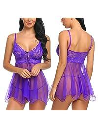 Avidlove Women Babydoll Set Mesh Lingerie Lace Sleepwear Strap Chemise Outfits