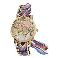 Souarts Womens Folk Braided Band World Map Dial Adjustable Quartz Analog Wrist Watch 15cm
