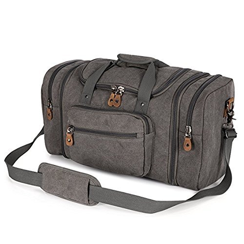 Plambag Oversized Canvas Duffle Bag 50L Tote Travel Weekend Luggage Gym Bag Grey