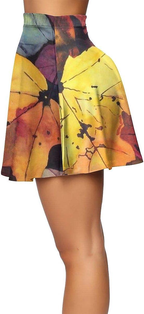 FANTASY SPACE Swing Pleated Skirts for Women Versatile Stretchy Flared Shiny Short Mini Skirt