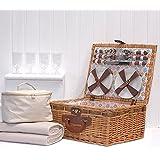 Fine Food Store Florence - Juego de cesta, manta y bolsa de picnic (para 4 personas), color crema