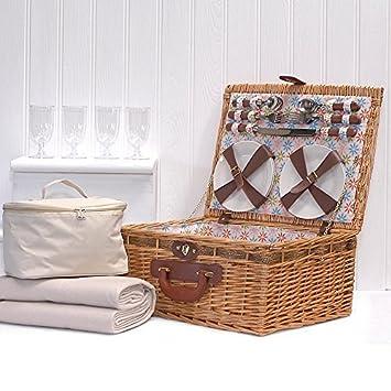 Grosvenor panier pique-nique - 4 personnes osier équipée bourriche avec construit dans le refroidisseur et accessoires Rxhs76R