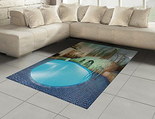 Modern Area Rug by Ambesonne, Vivid Blue Swimming Pool in Spa Interior Resort Relaxation and Theraphy Theme, Flat Woven Accent Rug for Living Room Bedroom Dining Room, 5.2 x 7.5 FT, Blue Aqua Beige by Ambesonne (Image #1)