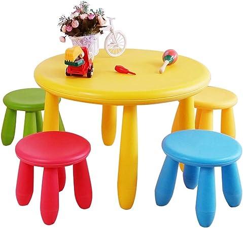 LIANGJUN Juegos De Mesa Y Sillas for Niños Redondo Juguete Comedor Mesa De Aprendizaje Dibujo Filete La Seguridad Tabla De Actividades,4 Sillas for Niños (Color : A): Amazon.es: Hogar