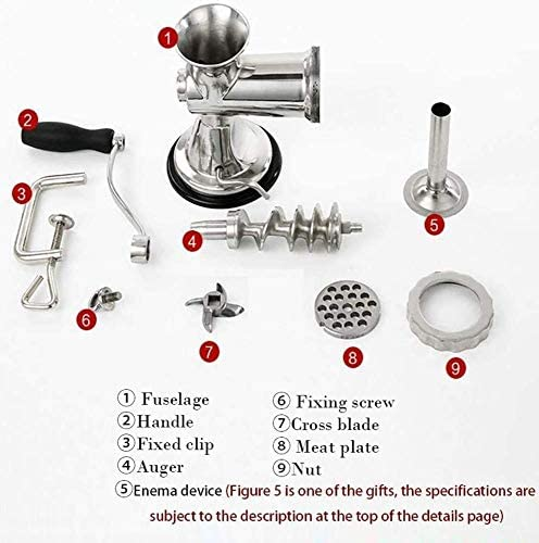 Meat Grinder, Mixer Manual Keuken roestvrij staal vleesmolen En Worst Stuffer od Grinders Duty Krachtig DDLS