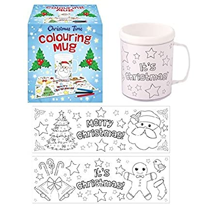 6 x christmas time colouring mugs colour your own arts crafts by christmas time