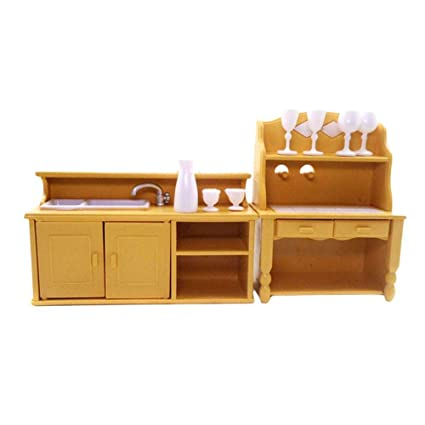 YaYa Classic Wooden Doll House Kitchen Furniture Kits Dollhouse Miniatures  1:12 DIY Accessories