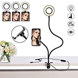 Selfie Ring Light, Keliiyo Phone Ring Light with Phone Holder Stand [3-Light Mode] [10-Level Brightness] With Flexible Long Arms for Phone (Black)