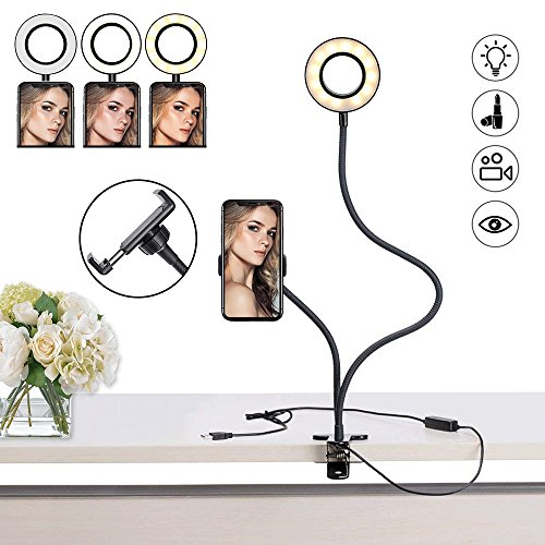 Selfie Ring Light, Keliiyo Phone Ring Light with Phone Holder Stand [3-Light Mode] [10-Level Brightness] with Flexible Long Arms for Phone (Black) (Light Chat)