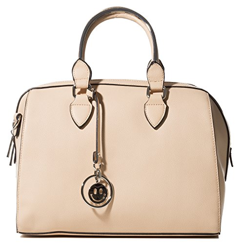 Handbag Republic Women's Satchel Style Purse Vegan Leather Top Handle Cross-body Bag With Cute Smile (Satchel Style Shoulder Bag)