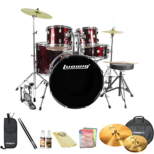 Ludwig JF-LC1704-KIT-1 Accent Fuse 5-Pc Fusion Size Drum Set with Zildjian Cymbals & ChromaCast Accessories, Wine Red Sparkle